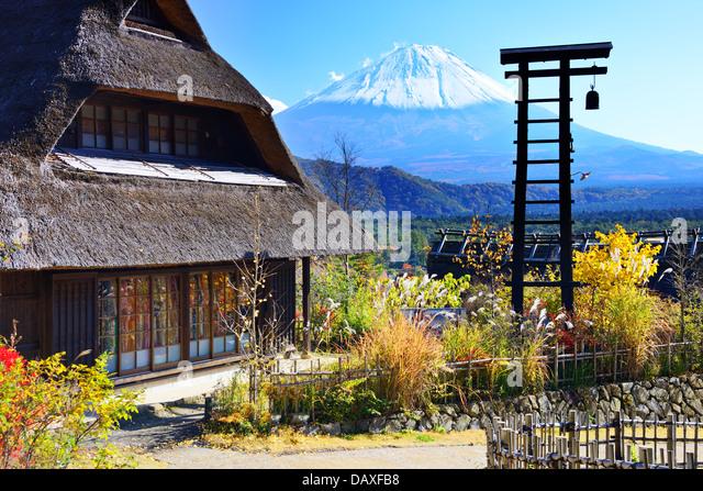 Traditional Japanese huts near Mt. Fuji, Japan. - Stock-Bilder