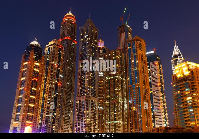 Dubai Marina at night - Stock Image