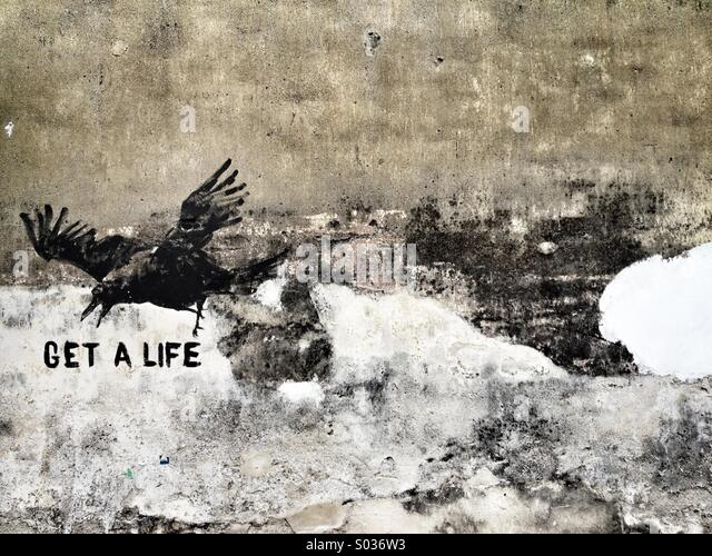 Get a Life wall art - Stock Image