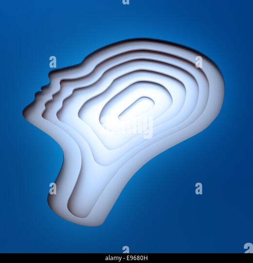 Inside a head silhouette - psychology concept - Stock Image