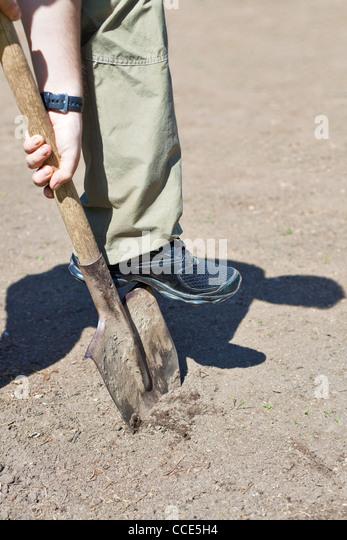 Young man digging garden ground. - Stock Image