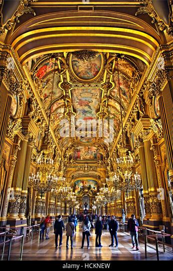 The Grand Foyer in Palais Garnier, National Opera House, Paris, France. - Stock Image