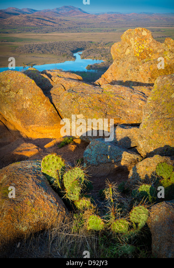 View from Elk Mountain in Wichita Mountains Wildlife Refuge, Oklahoma - Stock-Bilder
