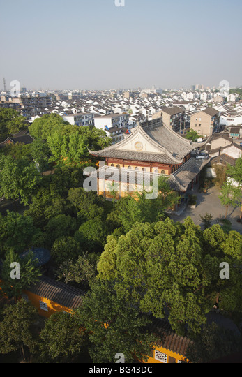 View of Suzhou from Beisi Ta Pagoda, Suzhou, Jiangsu, China, Asia - Stock Image