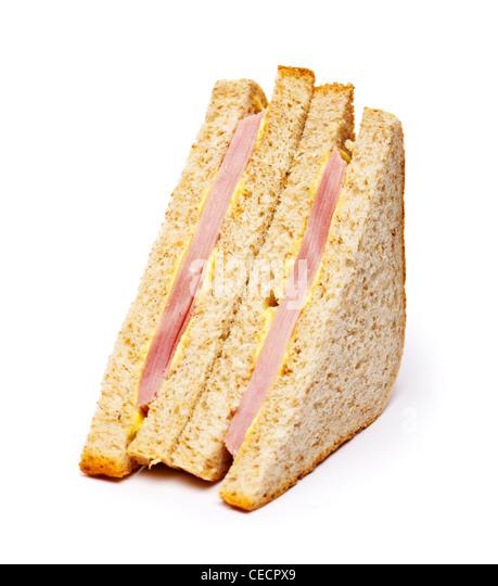 Ham sandwich on white background - Stock Image