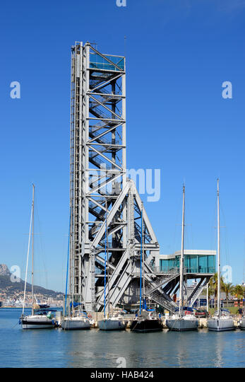 Le Pont Tower Bridge (1917)  Converted to Viewing Tower with Views over the Harbor or Harbour and Bay of Toulon, - Stock Image