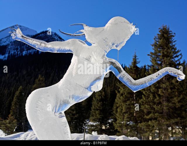 Canada Alberta Banff National Park Lake Louise ice sculpture of woman - Stock Image
