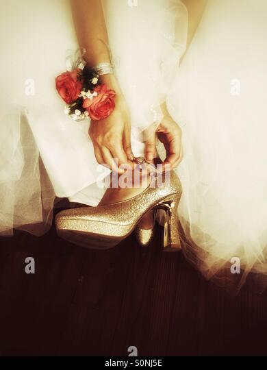 Bride shoes - Stock Image