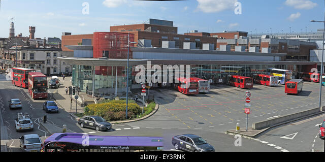 Warrington Bus Station,interchange,town centre,Cheshire,England,UK - Stock Image