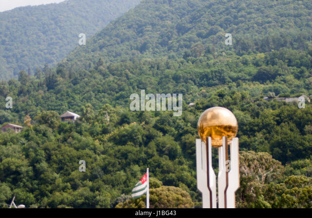 Beautiful resort nature of Abkhazia in summer green trees and mountains - Stock Image