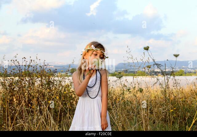 Young girl celebrating spring harvest festival, Israel - Stock Image
