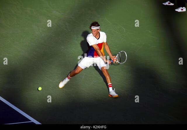 New York, United States. 31st Aug, 2017. US Open Tennis: New York, 31 August, 2017 - Austria's Dominic Thiem - Stock Image