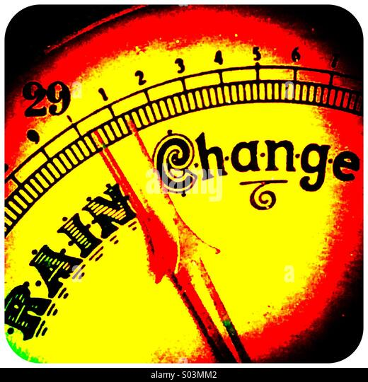Barometer needle pointing between rain and change - Stock Image