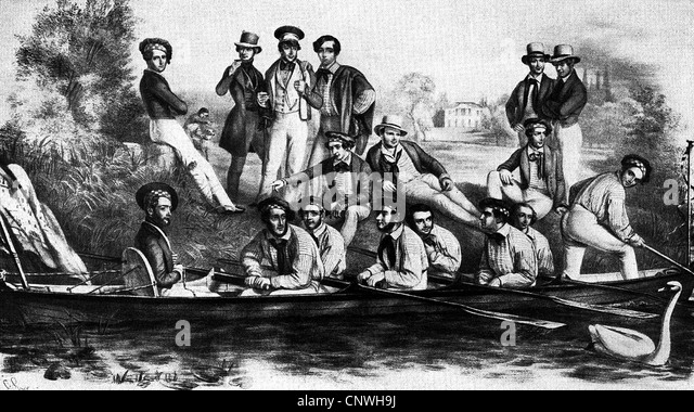 sports, rowing, members of a rowing club, Hamburg, Germany, 1841, 1840s, 19th century, historic, historical, after - Stock Image