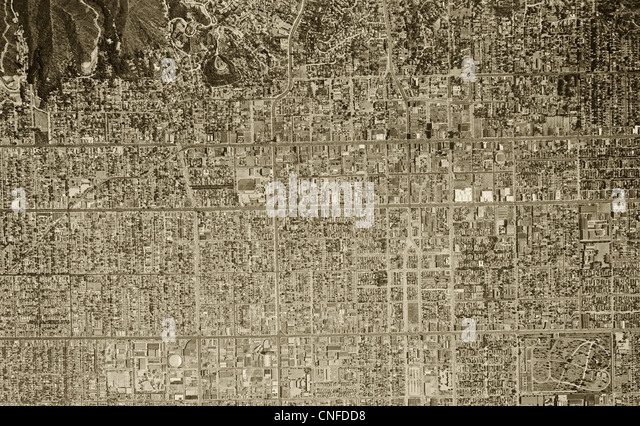 historical aerial photograph Hollywood California 1948 - Stock Image