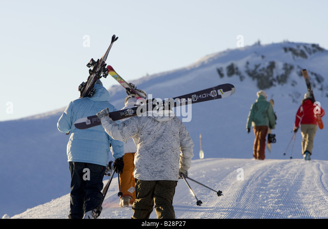Backcountry skiing Whistler British Columbia Canada - Stock Image