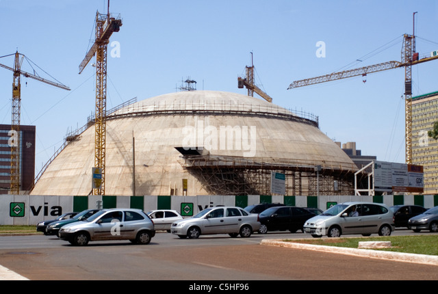 Museu da República, Brasilia, Brazil, under construction (National Museum of the Republic) - Stock Image
