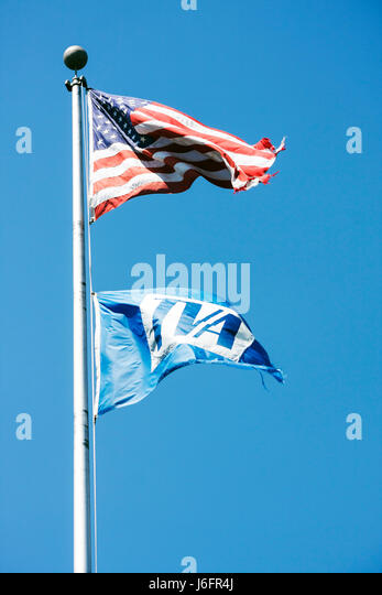 Tennessee Blountville Boone Lake American flag stars stripes pole Tennessee Valley Authority TVA electric utility - Stock Image