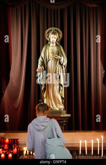 Jesus Sacred Heart, St. Petrus and St. Paulus Church, Knokke-Heist, West Flanders, Belgium - Stock Image