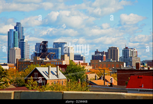 Chicago skyline summer clouds, blue sky, downtown 'The Loop' neighborhoods skyscrapers, Lake Michigan,  - Stock Image