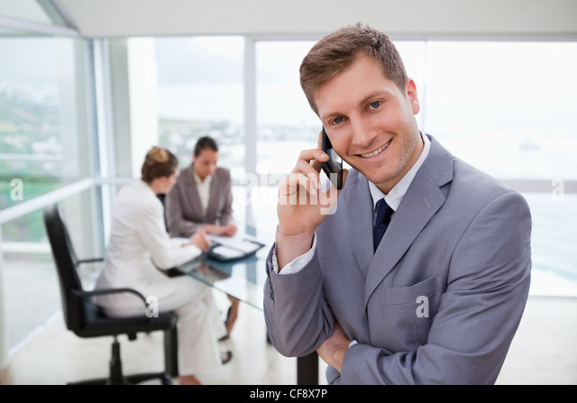 Sales manager on the phone - Stock Image