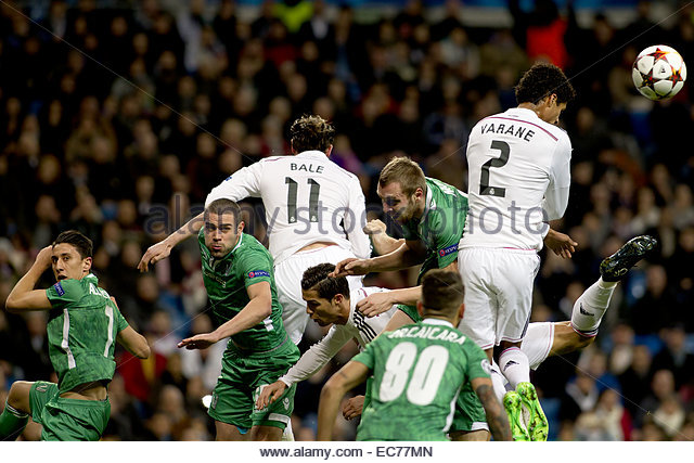 SPAIN, Madrid: Real Madrid's French Defender Rafael Varane during the Champions League 2014/15 match between - Stock Image