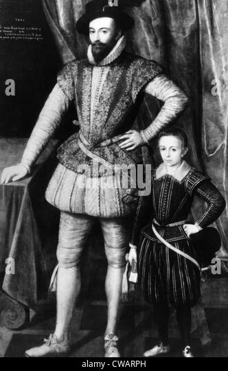 English explorer and writer Sir Walter Raleigh, with his eldest son Walter, 1602.. Courtesy: CSU Archives / Everett - Stock Image