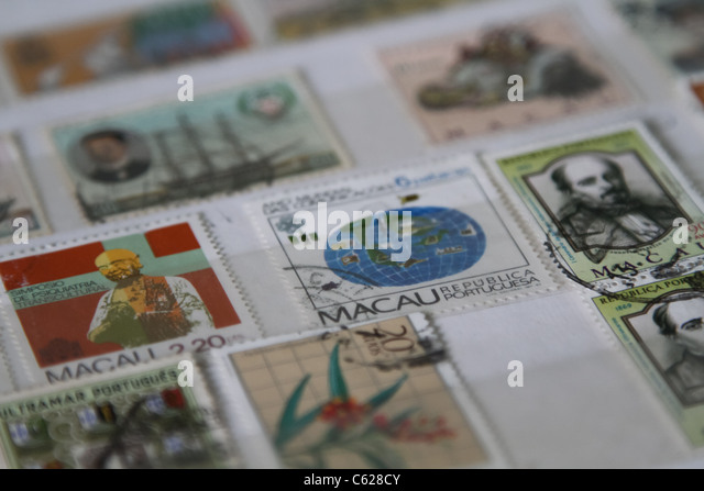 Macau stamp stamps collection - Stock Image