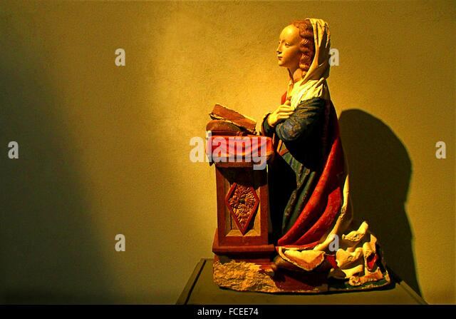 16th century Virgin of the Annunciation, polychrome limestone, Musée Fenaille, Rodez, Aveyron, Midi-Pyrenees, - Stock Image