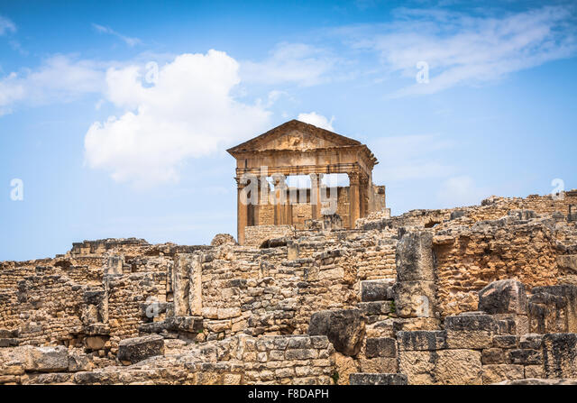 Ancient Roman city in Tunisia, Dougga - Stock-Bilder