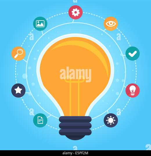 Creative idea infographic - design elements in flat style - graphic design process - Stock Image