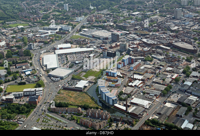 aerial view of the West Midlands town of Walsall - Stock Image