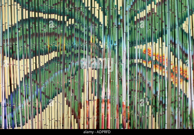 Florida, bamboo curtain, decoration, palm tree painting, - Stock Image