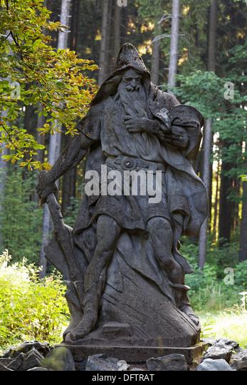 Ruebezahl Statue, Hotel Krakonos, Mariánské Lázn?, Karlovy Vary Region, Bohemia, Czech Republic - Stock-Bilder