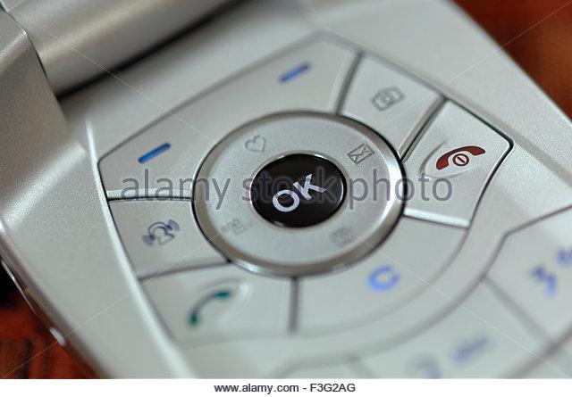 Close ups of mobile keypad and OK keys - Stock Image