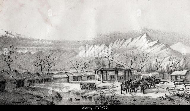 Fort  Utah on the Timpanogas (1850) - Stock-Bilder