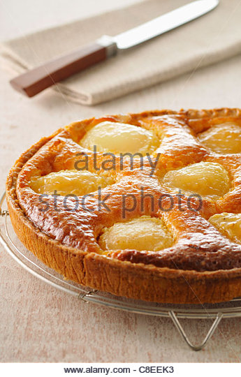 Pear and frangipane tart - Stock Image