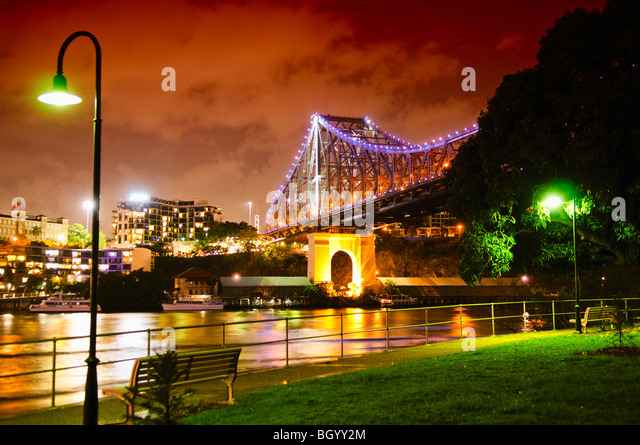 Brisbane's Story Bridge at night - Stock Image