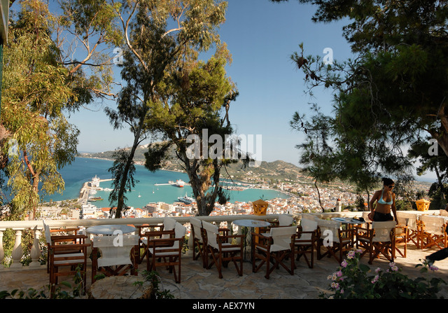 Greece Zakynthos town viewpoint from Strani hill Tavern - Stock Image