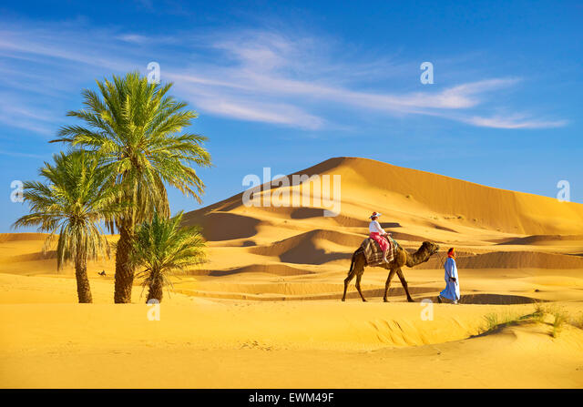 Tourist on camel ride, Erg Chebbi desert near Merzouga, Sahara, Morocco - Stock-Bilder
