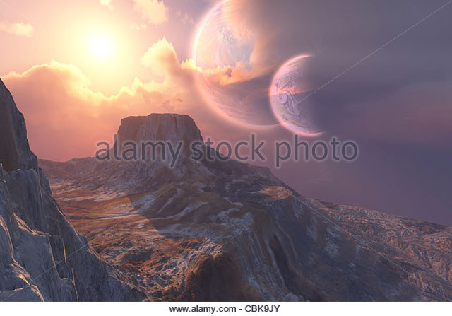 This earthlike planet has a double moon system. - Stock Image