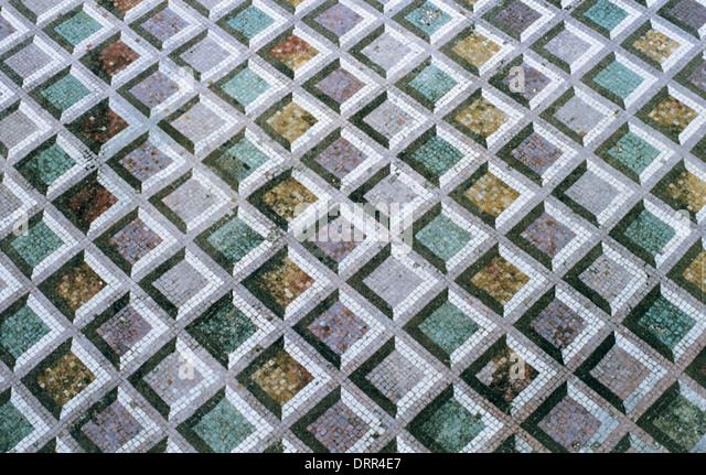 Roman Art. Italy. Roman Mosaic of polychrome geometric motifs. Dated to 211 BC. It comes from Lucus Feroniae. Lazio. - Stock Image