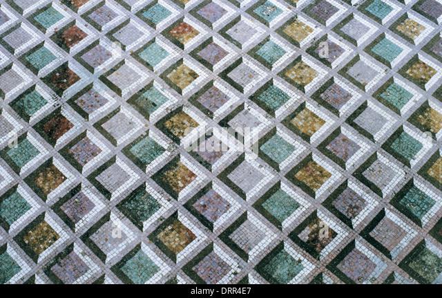 Roman Art. Italy. Roman Mosaic of polychrome geometric motifs. Dated to 211 BC. It comes from Lucus Feroniae. Lazio. - Stock Image