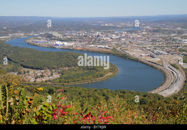 Tennessee Chattanooga Lookout Mountain Point Park National Military Park Civil War Battleground Tennessee River - Stock Image