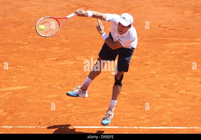 April 15, 2013 - Monte Carlo, Monaco - MONTE CARLO, MONACO - APRIL 15: Roberto Baustista-Agut of Spain hits the - Stock Image