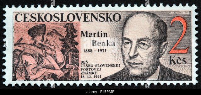 Ceskoslovensko  Martin Benka 1888 1971 den cesko slovenskej postovej Znamky 18.12.1991 2KCs stamp - Stock Image