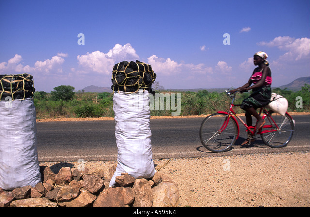 charcoal for sale/bicyclist malawi - Stock Image