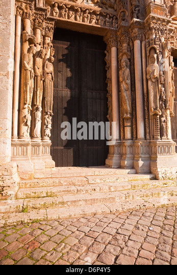 Part of the tympanum on the west front of Chartres Cathedral, UNESCO World Heritage Site, Chartres, Eure-et-Loir, - Stock Image