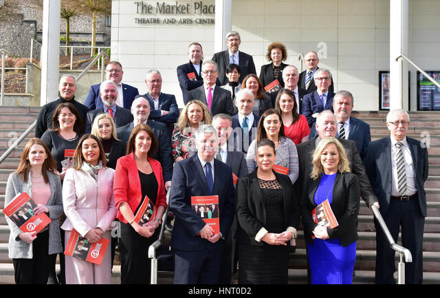 Armagh City, UK. 15th February 2017. Sinn Féin Party Election Candidates during the 2017 Manifesto launch  - Stock Image