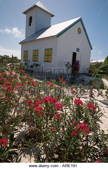 Bahamas Half Moon Cay Bahamian style church private owned by Holland America Cruise Lines - Stock Image